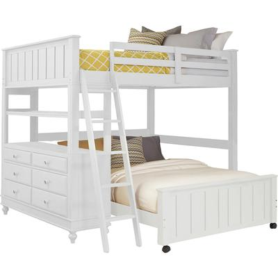 Lake House Full Loft Bed with Full Lower Bed - White