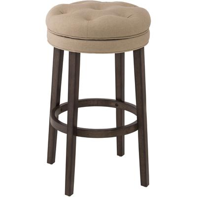 Krauss Backless Swivel Counter Height Stool with Linen Stone Seat