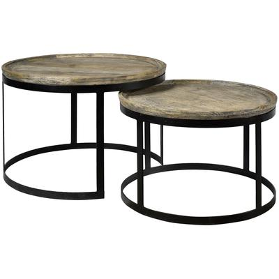 Bengal Manor Mango Wood and Metal Round Cocktail Tables - Set of 2