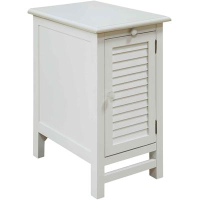 Cape May Cottage White Shutter Door and 1-Shelf Chairside Table