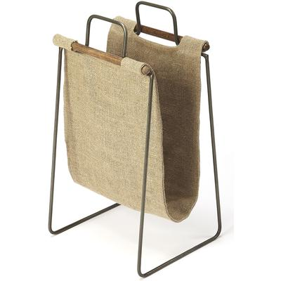 Butler Loft Idaho Burlap and Metal Magazine Basket