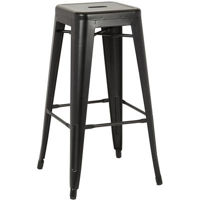 "Bristow 26"" Antique Metal Barstools (2-Pack) - Matte Black"