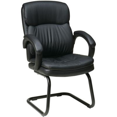 Bonded Leather Visitors Chair with Padded Arms and Sled Base