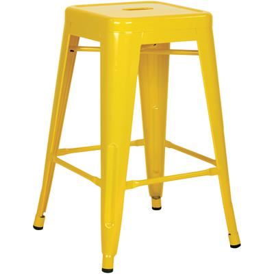 """24"""" Steel Backless Barstool (2-Pack) - Yellow"""