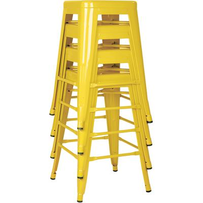 """24"""" Steel Backless Barstool (4-Pack) - Yellow"""