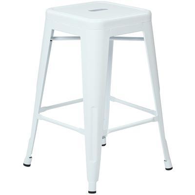 """24"""" Steel Backless Barstool (4-Pack) - White"""