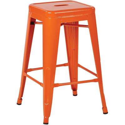 "24"" Steel Backless Barstool (4-Pack) - Orange"