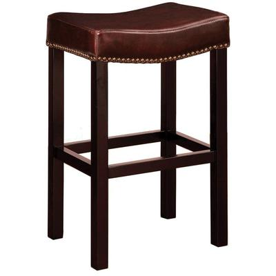 """Greer 26"""" Backless Stationary Barstool - Antique Brown Bonded Leather"""