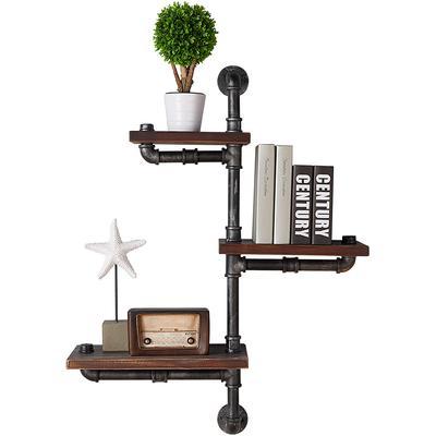 "Rumo 30"" Industrial Pine Wood Floating Wall Shelf"
