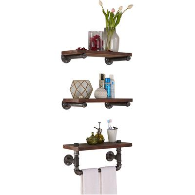 "Felipe 20"" Industrial Pine Wood Floating Wall Shelf"