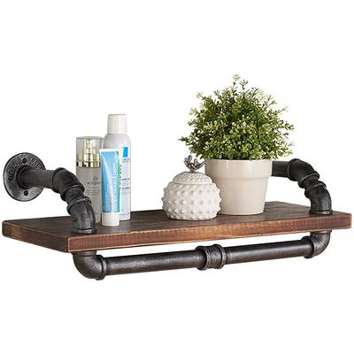 """Colonet 24"""" Industrial Pine Wood Floating Wall Shelf"""