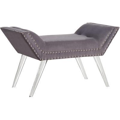Mansfield Tufted Ottoman Bench - Grey Velvet