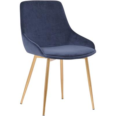 Zeus Contemporary Blue Velvet and Gold Dining Chair
