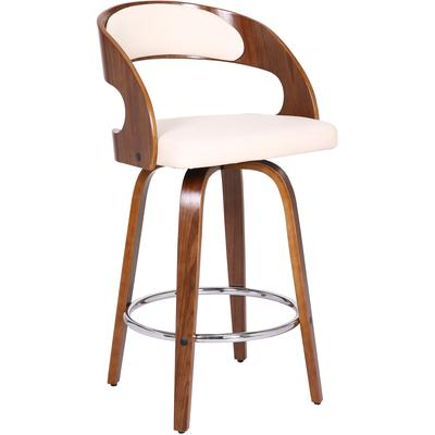 "Geldrop 26"" Contemporary Counter Height Swivel Barstool - Cream Faux Leather"