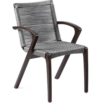 Set of 2 Newport Outdoor Patio Grey Rope Dining Arm Chairs