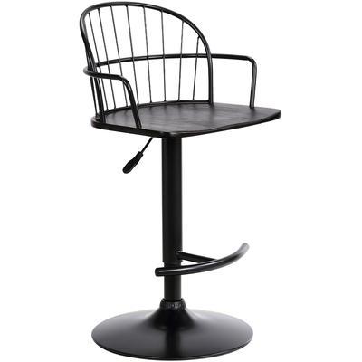 Nolan Adjustable Black Wood and Metal Barstool