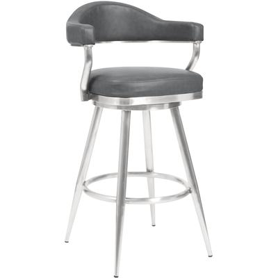 """Amador 26"""" Counter Height Barstool with Vintage Grey Faux Leather - Brushed Stainless Steel"""