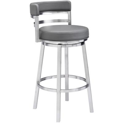 "Titana 26"" Contemporary Counter Height Barstool - Grey Faux Leather"