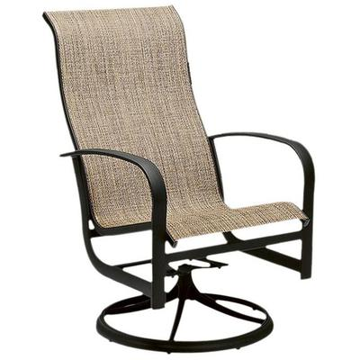 Fremont Sling High Back Swivel Rocker Dining Armchair
