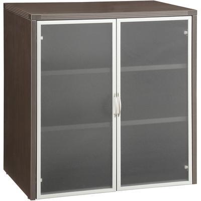 "Napa 37""H Storage Cabinet with Glass/Aluminum Doors - Espresso"